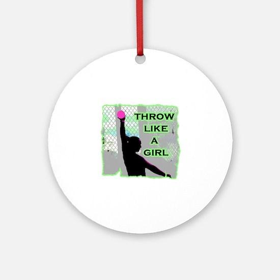 Throw like a girl shotput Round Ornament