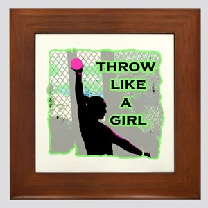 Throw like a girl shotput Framed Tile