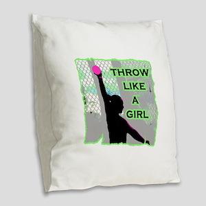 Throw like a girl shotput Burlap Throw Pillow