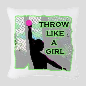 Throw like a girl shotput Woven Throw Pillow