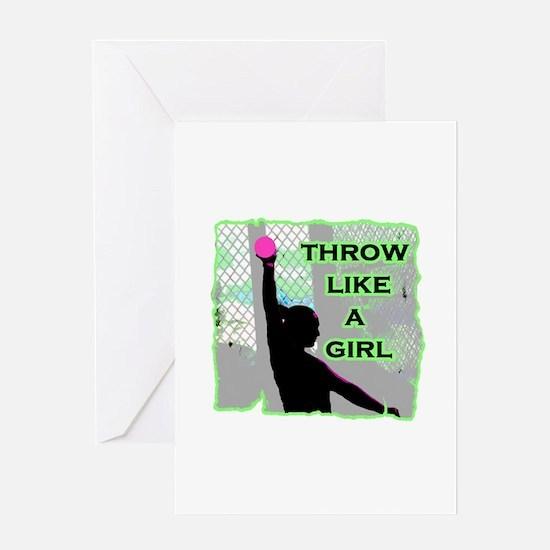 Throw like a girl shotput Greeting Cards