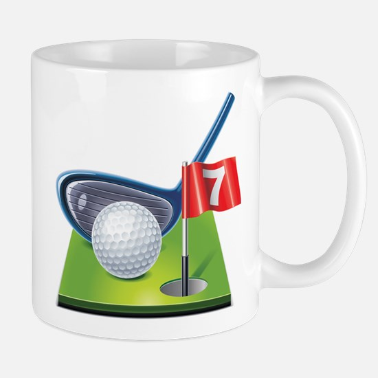Golf court with club and ball Mugs