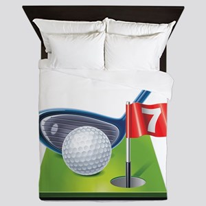 Golf court with club and ball Queen Duvet