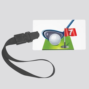 Golf court with club and ball Large Luggage Tag