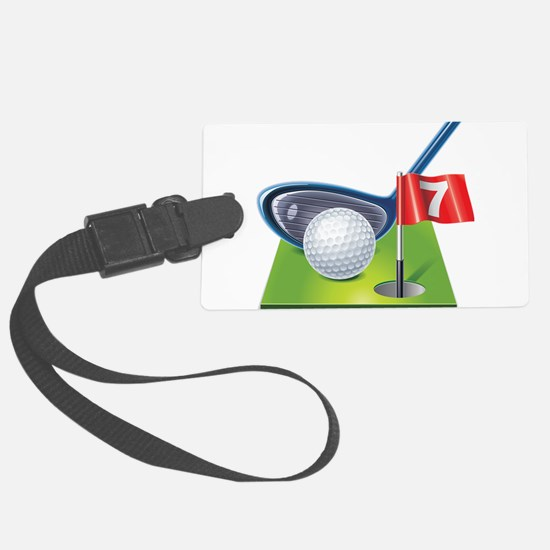 Golf court with club and ball Luggage Tag