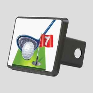 Golf court with club and b Rectangular Hitch Cover