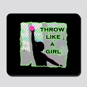 Throw like a girl shotput Mousepad