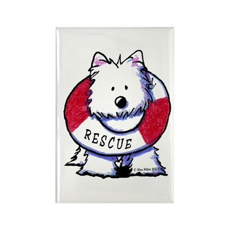 Rescue Westie Rectangle Magnet