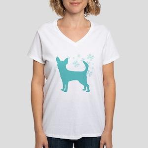 Chihuahua Snowflake Women's V-Neck T-Shirt
