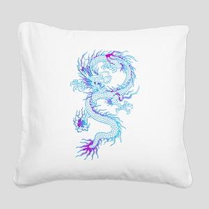 Blue dragon tattoo Square Canvas Pillow