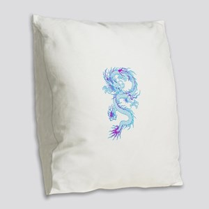 Blue dragon tattoo Burlap Throw Pillow
