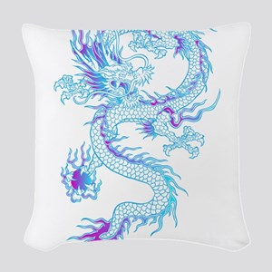Blue dragon tattoo Woven Throw Pillow
