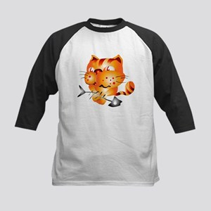 Tiger kid holding fish bone Baseball Jersey