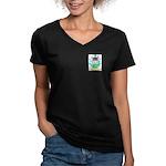 Tevelin Women's V-Neck Dark T-Shirt