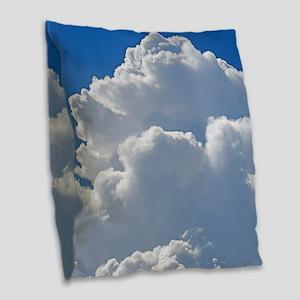 Puffy clouds Burlap Throw Pillow