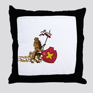 Heraldic lion shield Throw Pillow