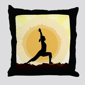 Yoga Warrior Pose Throw Pillow