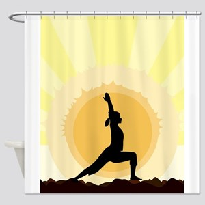 Yoga Warrior Pose Shower Curtain