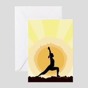 Yoga Warrior Pose Greeting Cards