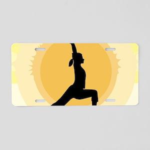 Yoga Warrior Pose Aluminum License Plate
