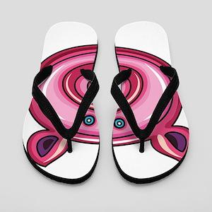 Pink pig face Flip Flops
