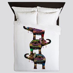 Egyptian elephant art Queen Duvet