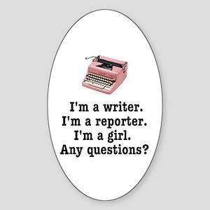 Pink Typewriter Oval Sticker (10 pk) Sticker