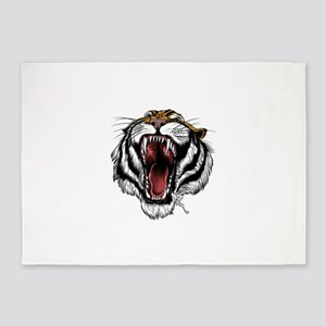 Beautiful angry tiger 5'x7'Area Rug