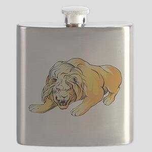 Ferocious lion art Flask