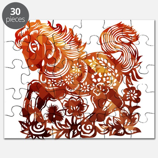 Decorated horse Chinese new year poster Puzzle