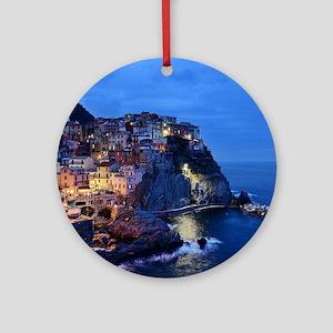 Italy Cinque Terre Tourist destinat Round Ornament