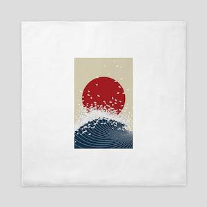 VINTAGE JAPANESE RISING SUN PRINT Queen Duvet