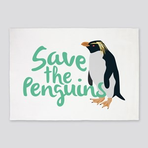Save the Penguins 5'x7'Area Rug