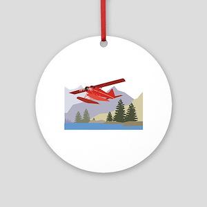 Alaska Plane Round Ornament