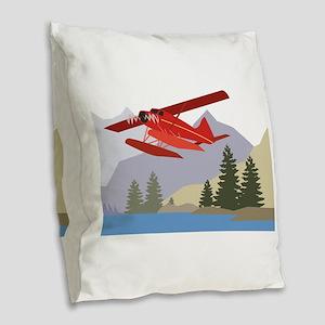 Alaska Plane Burlap Throw Pillow
