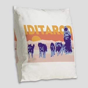 Iditarod Race Burlap Throw Pillow