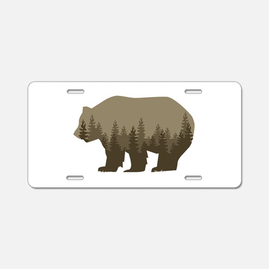 Grizzly Trees Aluminum License Plate