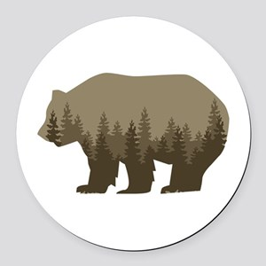Grizzly Trees Round Car Magnet