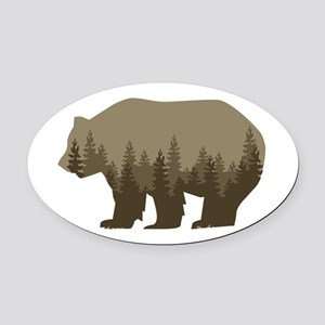 Grizzly Trees Oval Car Magnet