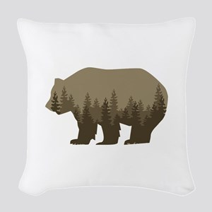 Grizzly Trees Woven Throw Pillow