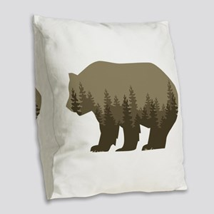 Grizzly Trees Burlap Throw Pillow