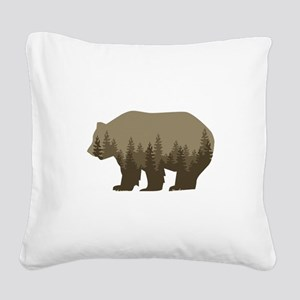 Grizzly Trees Square Canvas Pillow