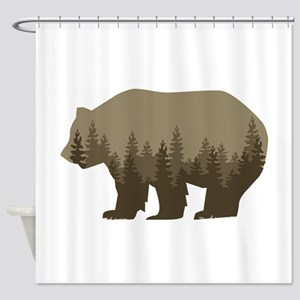 Grizzly Trees Shower Curtain