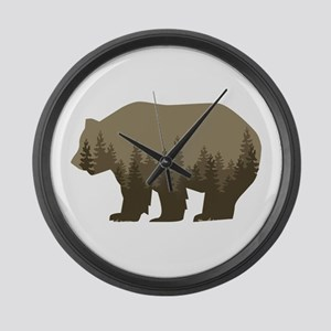 Grizzly Trees Large Wall Clock