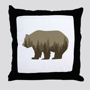 Grizzly Trees Throw Pillow