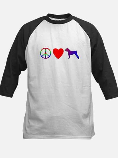 Peace, Love, Cane Corso Kids Baseball Jersey