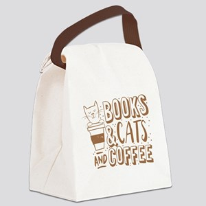 Books and cats and coffee Canvas Lunch Bag