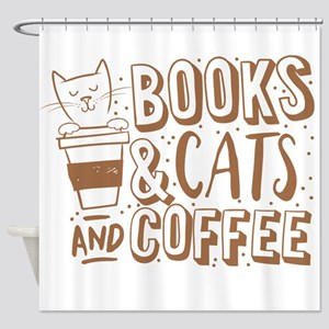 Books and cats and coffee Shower Curtain