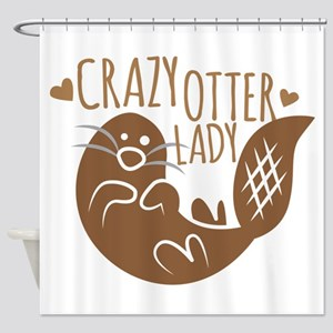 Crazy Otter Lady Shower Curtain