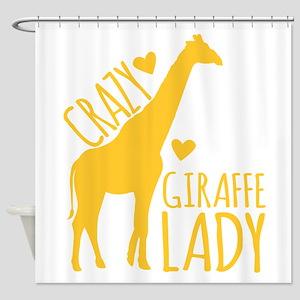 Crazy Giraffe Lady Shower Curtain